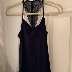 fitted navy tank top with detailed back